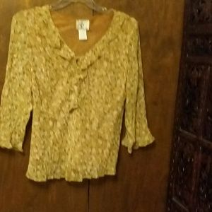 ICE Beige, Tan and White Ruffle Blouse - XL